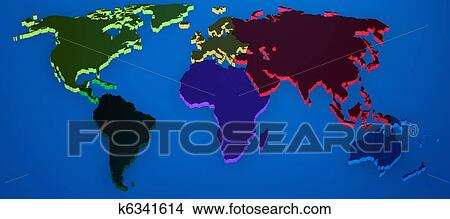 Drawings of world map render 3d with continents separated k6341614 drawing world map render 3d with continents separated fotosearch search clip art illustrations gumiabroncs Choice Image