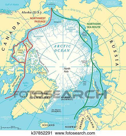 Clipart of Arctic Ocean Sea Routes Map k37852291 Search Clip Art
