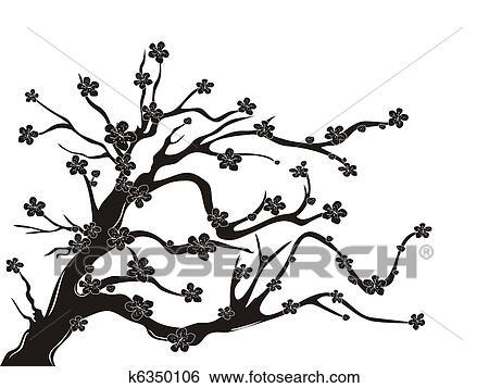 Black And White Cherry Blossom Clip Art Clip Art Cherry Blossom Tree