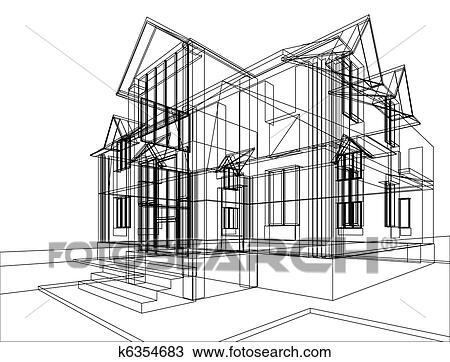 手绘图 房屋建设, 勾画