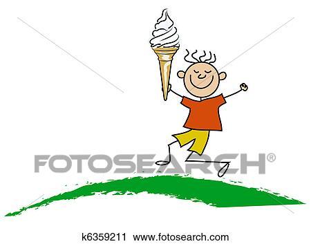 剪贴画 男孩, 带, 冰淇淋