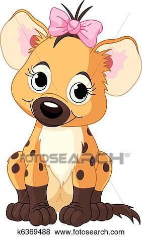 clip art of baby girl hyena k6369488 search clipart illustration rh fotosearch com  free hyena clipart