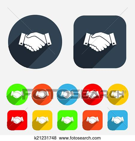 Clip Art of Handshake sign icon. Successful business symbol ...