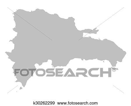 剪贴画 - 灰色, 地图, 在中, 多米尼加共和国图片