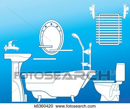 Clipart badezimmer in blau k6360420 suche clip art for Badezimmer clipart