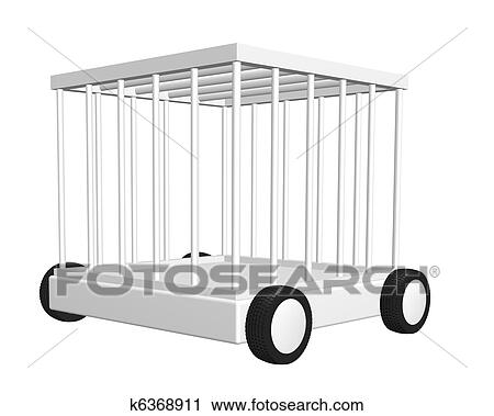 Clipart of cage on wheels k6368911 - Search Clip Art, Illustration ...