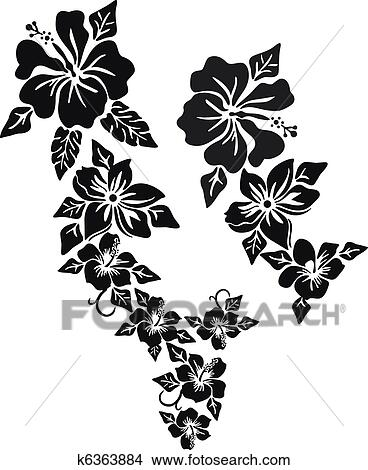 Clipart Of Tropical Flower Clothing K6363884