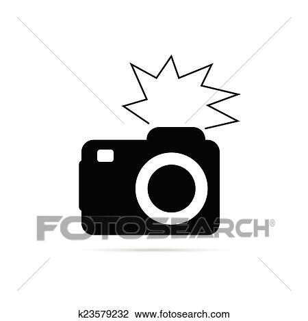 clipart of camera flash black and white vector k23579232 search rh fotosearch com Camera Lens Clip Art Photography Clip Art