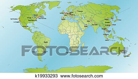 Clipart of map of the world k19933293 search clip art for Environmental graphics giant world map wall mural