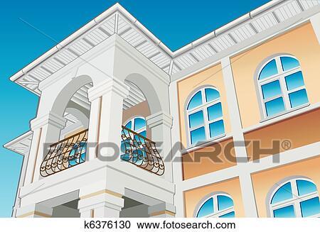Clipart of balcony k6376130 search clip art for Balcony vector
