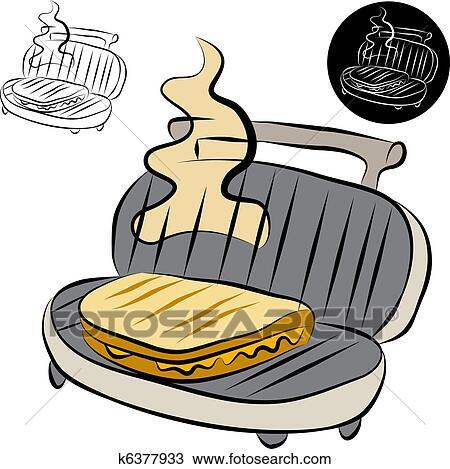 Clipart of Panini Press Sandwich Maker Line Drawing ...