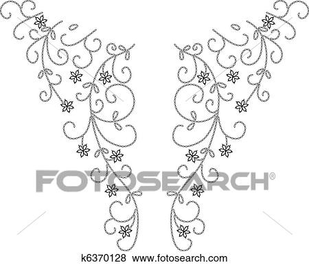 Clip Art of Neckline Henna fashion design k6370128 Search Clipart