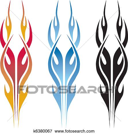 Clip art flame car tattoo fotosearch search clipart illustration