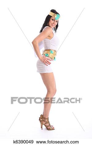 Long dress gold heels