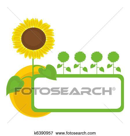 剪贴画 向日葵, 框架, design.