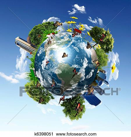 Clipart of earth with the different elements k6398051 for Environmental graphics giant world map wall mural