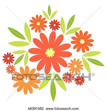 Clip Art Of Orange Flowers K6391562