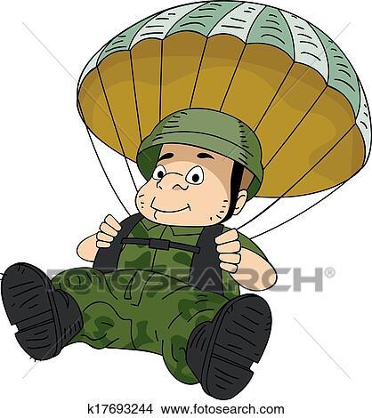 Clipart parachutiste k17693244 recherchez des clip - Dessin parachutiste ...