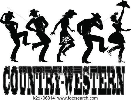 Clipart of Country-western dance silhouette ba k25706814 - Search ...