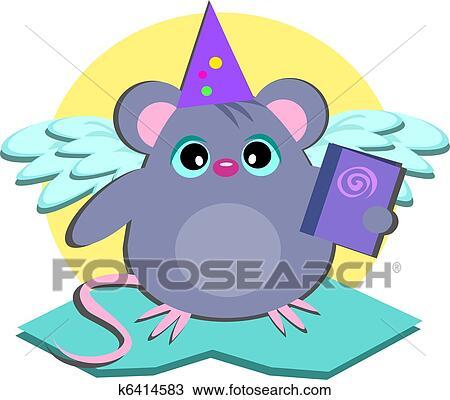剪贴画 - 老鼠, 旗帜
