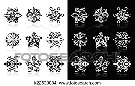 clipart schneeflocken winterbilder schwarz wei k22633084 suche clip art illustration. Black Bedroom Furniture Sets. Home Design Ideas