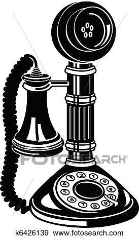 Clip Art of Antique Telephone Or Phone Clip Art k6426139 ...