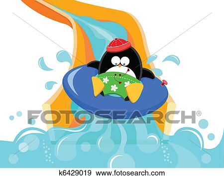 clip art of penguin on water slide k6429019 search clipart rh fotosearch com Water Park Slides Clip Art water slide clip art images