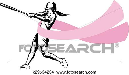 clipart of softball batter with breast cancer ribbon k29534234 rh fotosearch com breast cancer clip art border breast cancer clip art for newsletter