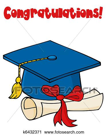 clipart of blue graduate cap with diploma k6432371 search clip art rh fotosearch com free graduation cap and diploma clipart free cap and diploma clipart