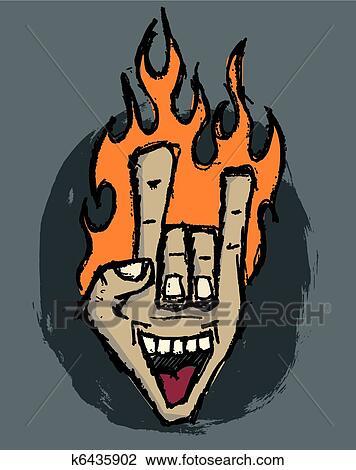 rock hand illustration