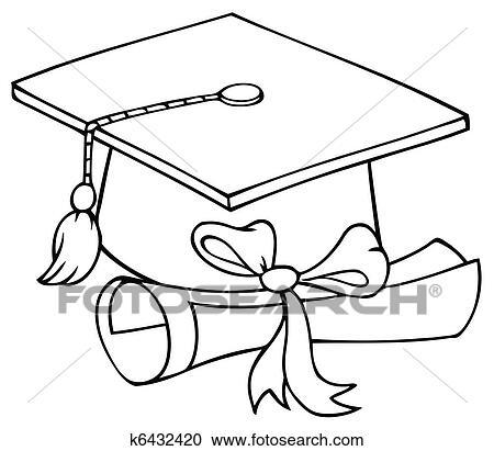 clipart of graduate cap with diploma k6432420 search clip art rh fotosearch com Celebration Clip Art Black and White graduation hat clipart black and white