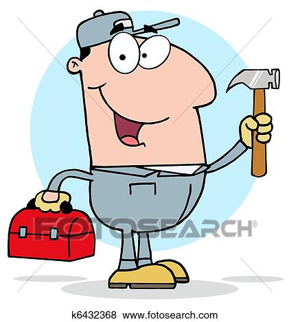 clip art of handy man with tool box k6432368 search clipart rh fotosearch com tool box openclipart toolbox clip art images