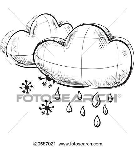 Clipart - deux, nuages, à, flocons neige, et, baisses pluie k20587021 ...
