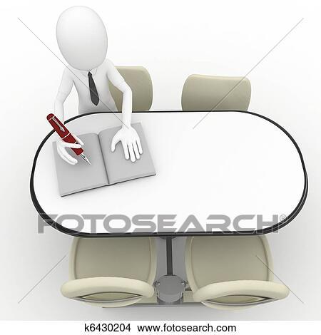 手绘图 - 3d, 人坐, 在桌子图片