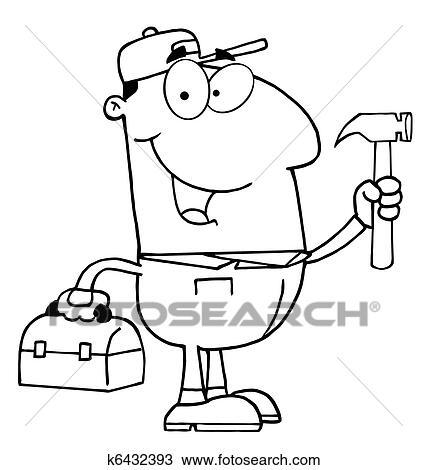 Clipart lavoratore costruzione con martello k6432393 - Contorno squalo martello ...