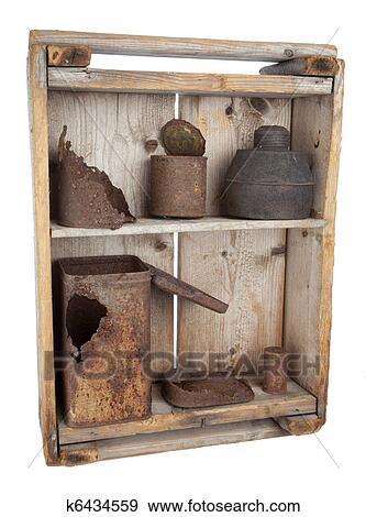 archivio fotografico - vecchio, legno, mensole, con, arrugginito ... - Mensole Con Legno Vecchio