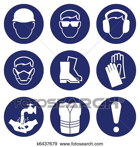 Clip Art of Health and Safety Icons k6437679 - Search Clipart ...