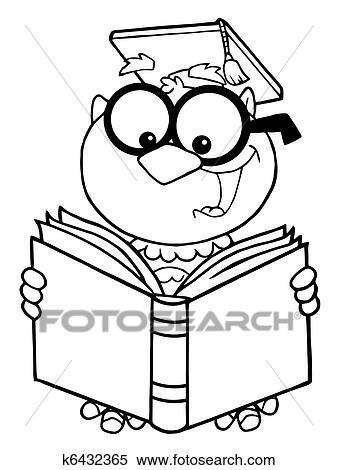clipart of outlined owl teacher reading a book k6432365 search rh fotosearch com Cartoon Owls in Trees Owl Line Drawing