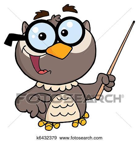 clip art of professor owl cartoon character k6432379 search rh fotosearch com Owl Clip Art Owl Graphic