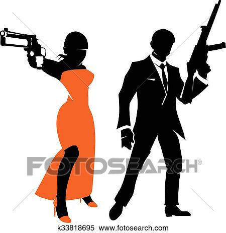 clipart of silhouettes of spy couple vector characters k33818695 rh fotosearch com gangster clipart images gangster car clipart