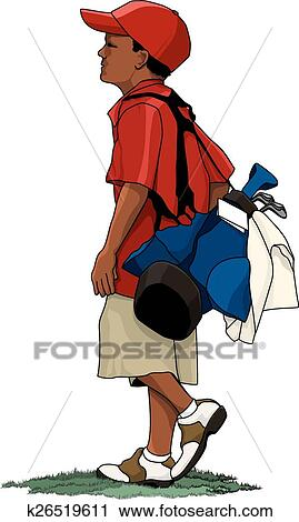 clipart of black boy golfer with golf bag k26519611 search clip rh fotosearch com free golf bag clipart