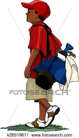 clipart of black boy golfer with golf bag k26519611 search clip rh fotosearch com  free golf bag clipart