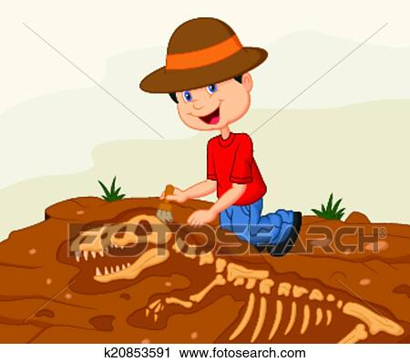 clipart of cartoon child archaeologist excavat k20853591 search rh fotosearch com Archaeologist Digging Clip Art Jokes for Archaeologists