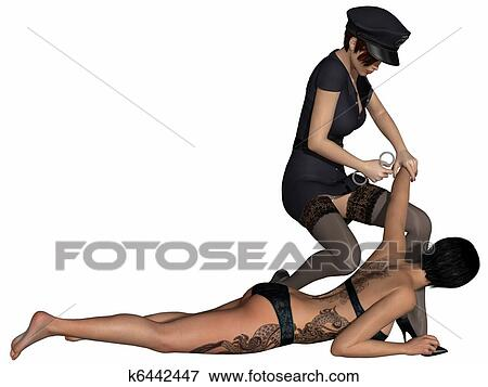 Stock Illustration of Bad police girl with prisoner k6442447 - Search ...: www.fotosearch.com/CSP644/k6442447