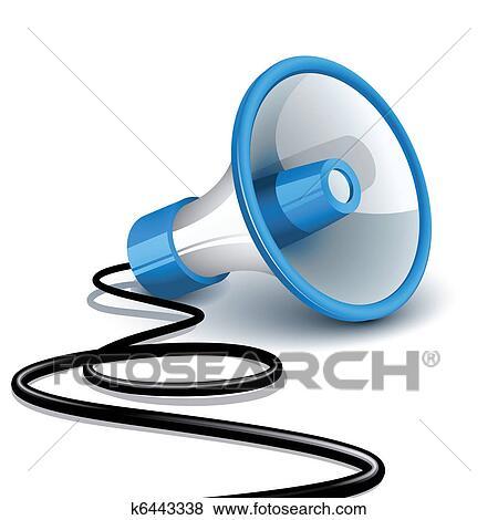 clip art of megaphone k6443338 search clipart illustration rh fotosearch com clip art megaphone pictures megaphone clipart images