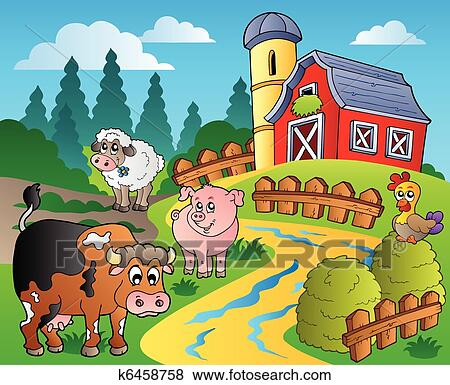Clip Art of Country scene with red barn 1 k6458758 ...