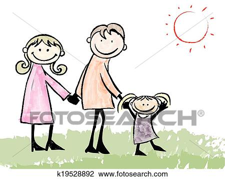 clipart of father mother daughter and cat cartoon illustration rh fotosearch com mom and daughter clipart mom and daughter clipart