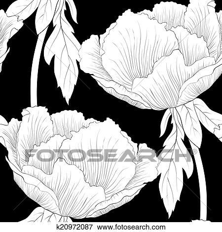 clip art sch n monochrom schwarz wei seamless hintergrund mit blumen pflanze paeonia. Black Bedroom Furniture Sets. Home Design Ideas