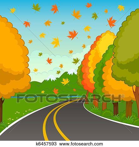 手绘图 - 秋天风景