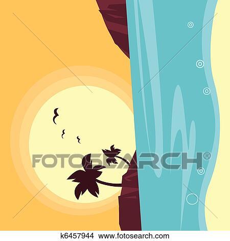 Clipart Of Summer Travel Silhouette Beach Sunset
